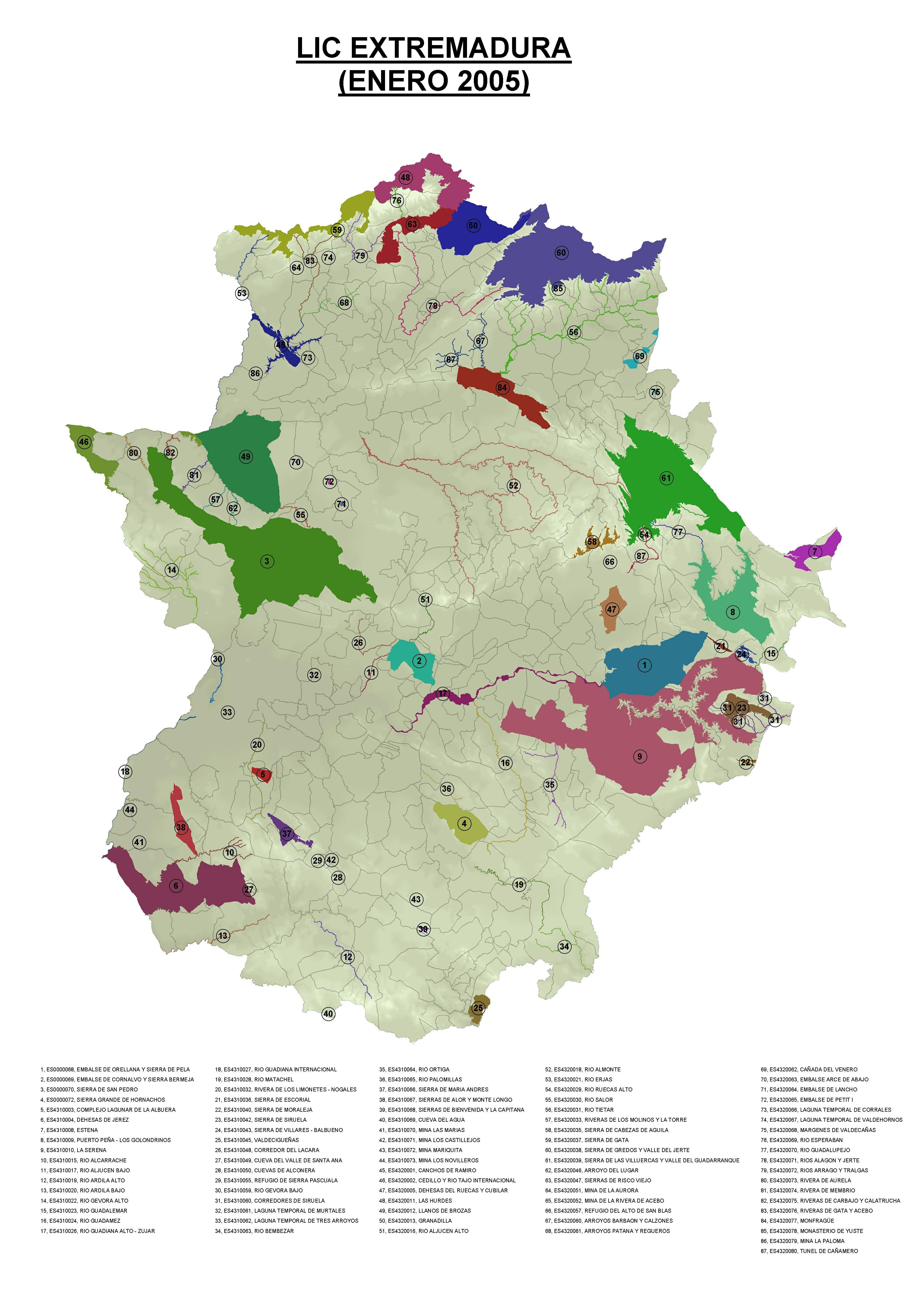 Mapa de Lugares de importancia comunitaria (LIC) de Extremadura