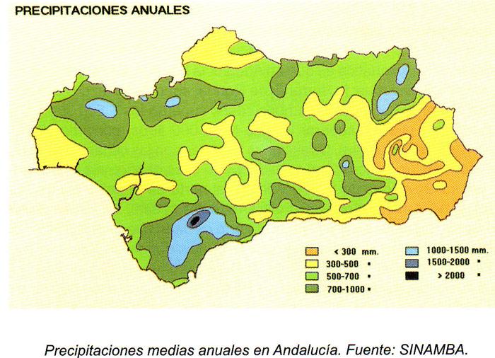 Average yearly precipitation in Andalusia