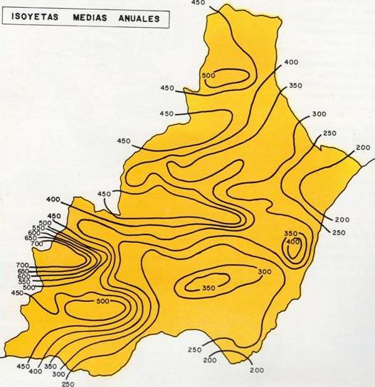 Mapa de Precipitación media anual en la Provincia de Almería