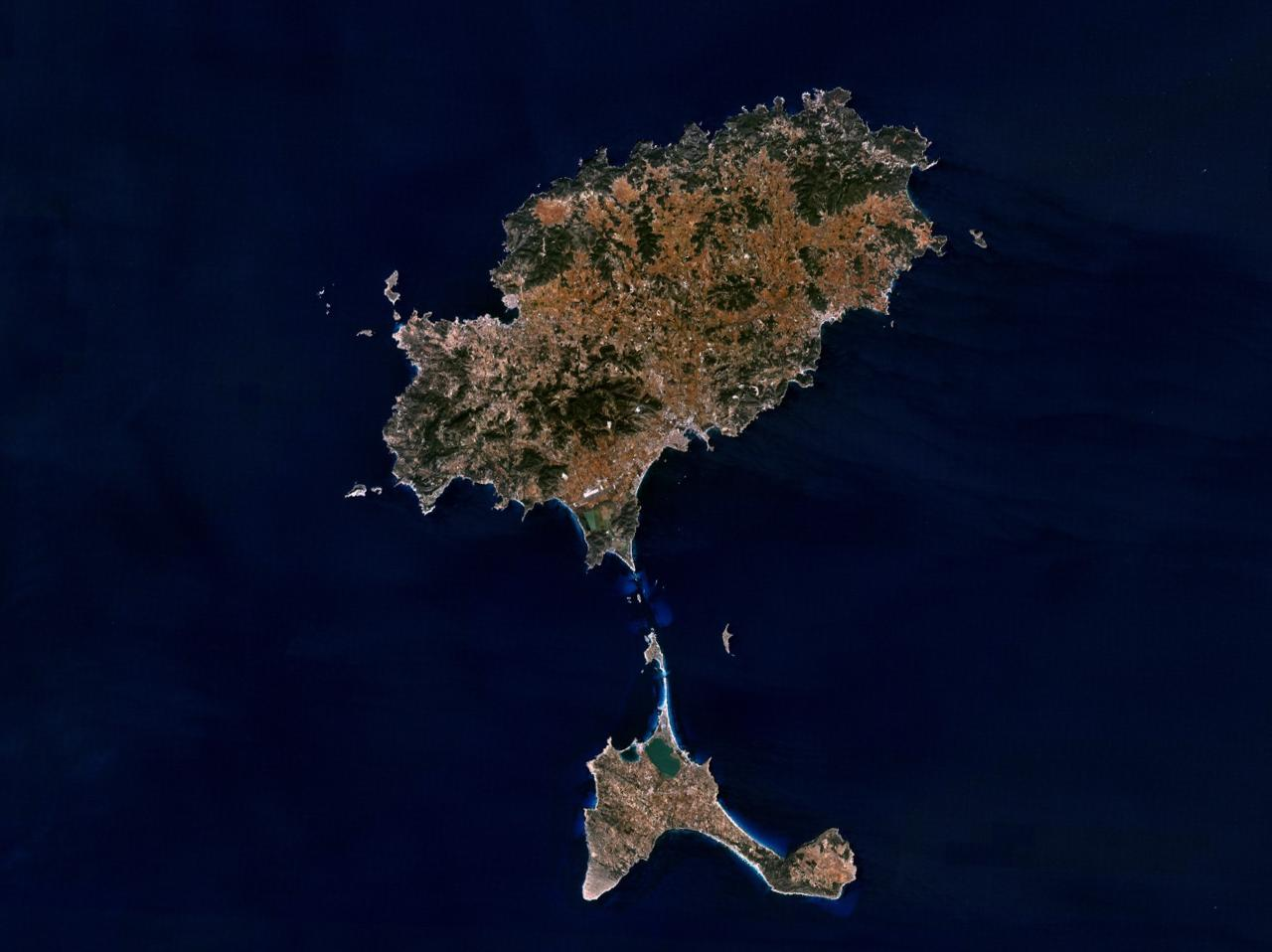 Satellite map of Ibiza Island