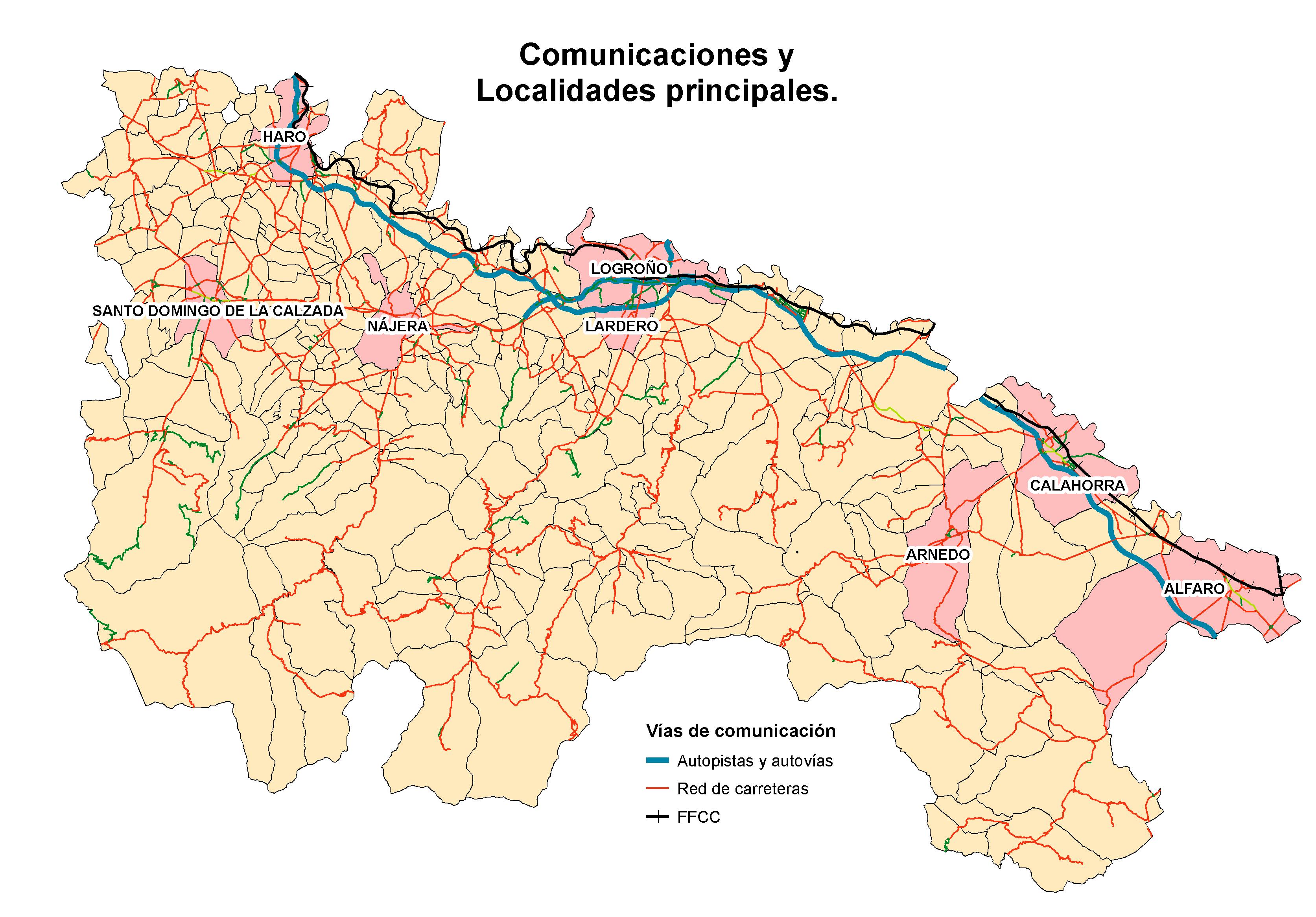 Mapa de Carreteras y principales localidades de La Rioja 2007