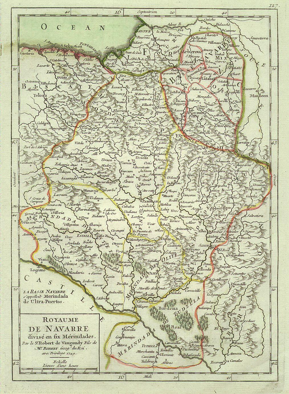 Map of Navarre, XVIII century