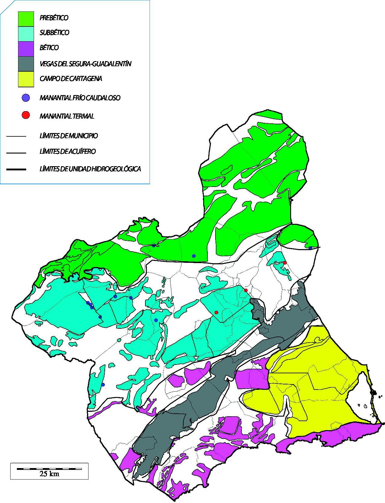 Unidades hidrogeológicas y acuíferos de la Región de Murcia