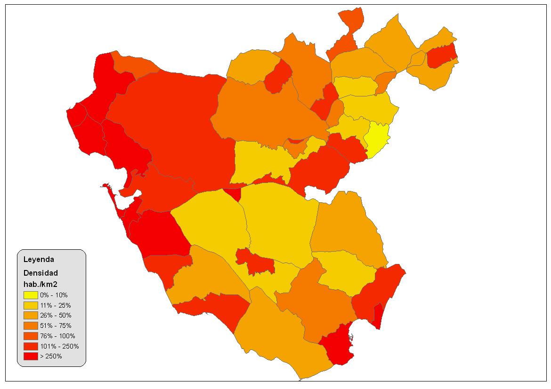 Population density of the province of Cádiz 2008