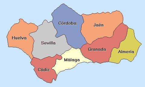 Mapa de Las provincias de Andaluca  mapaowjecom