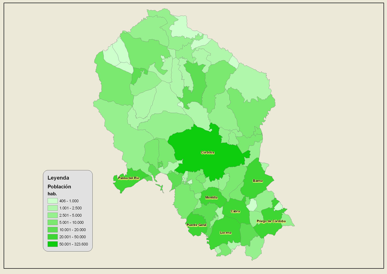 Población de provincia de Córdoba 2007