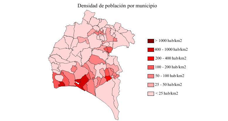 Densidad de población en la provincia de Huelva 2007