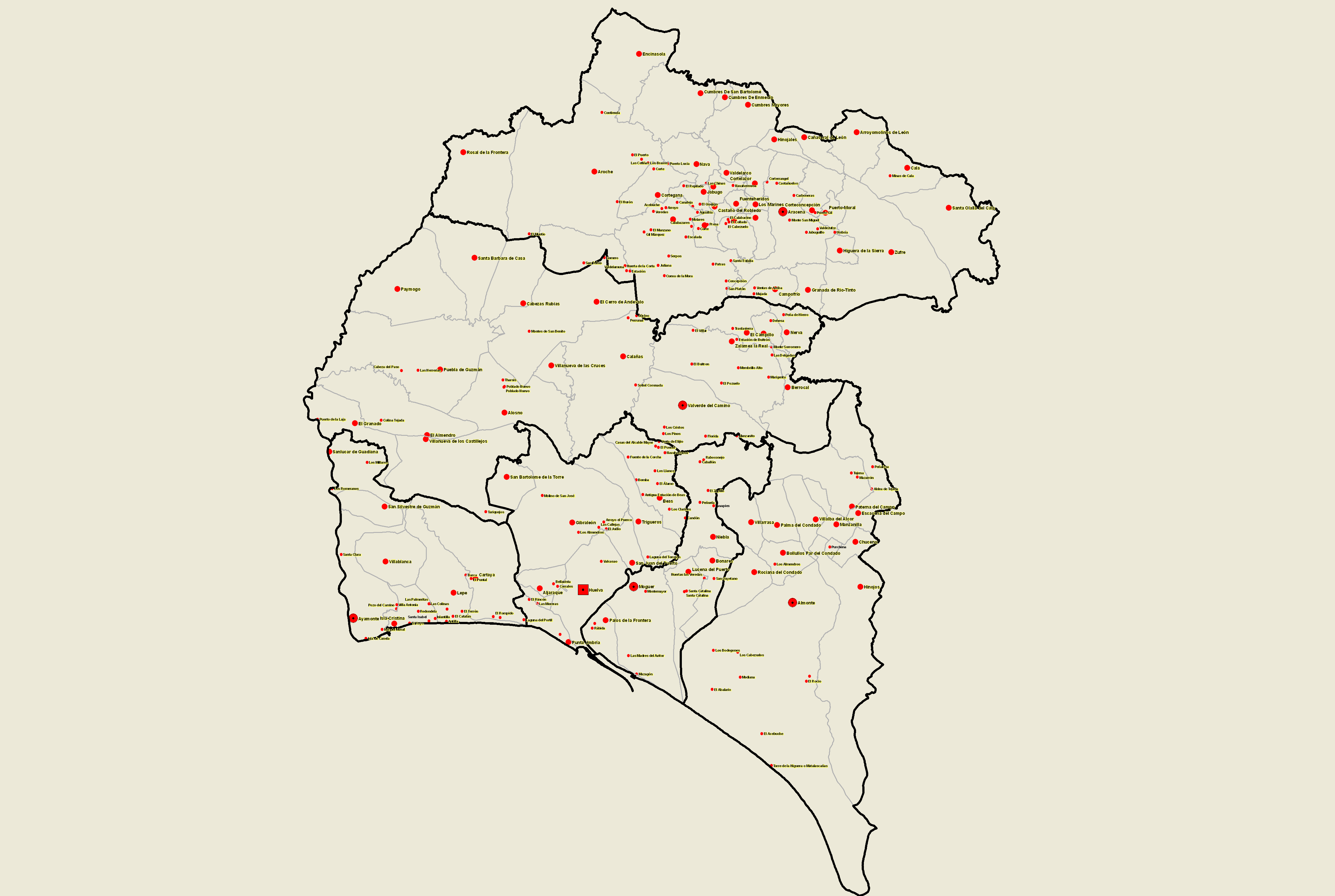 Towns and villages of the province of Huelva 2008