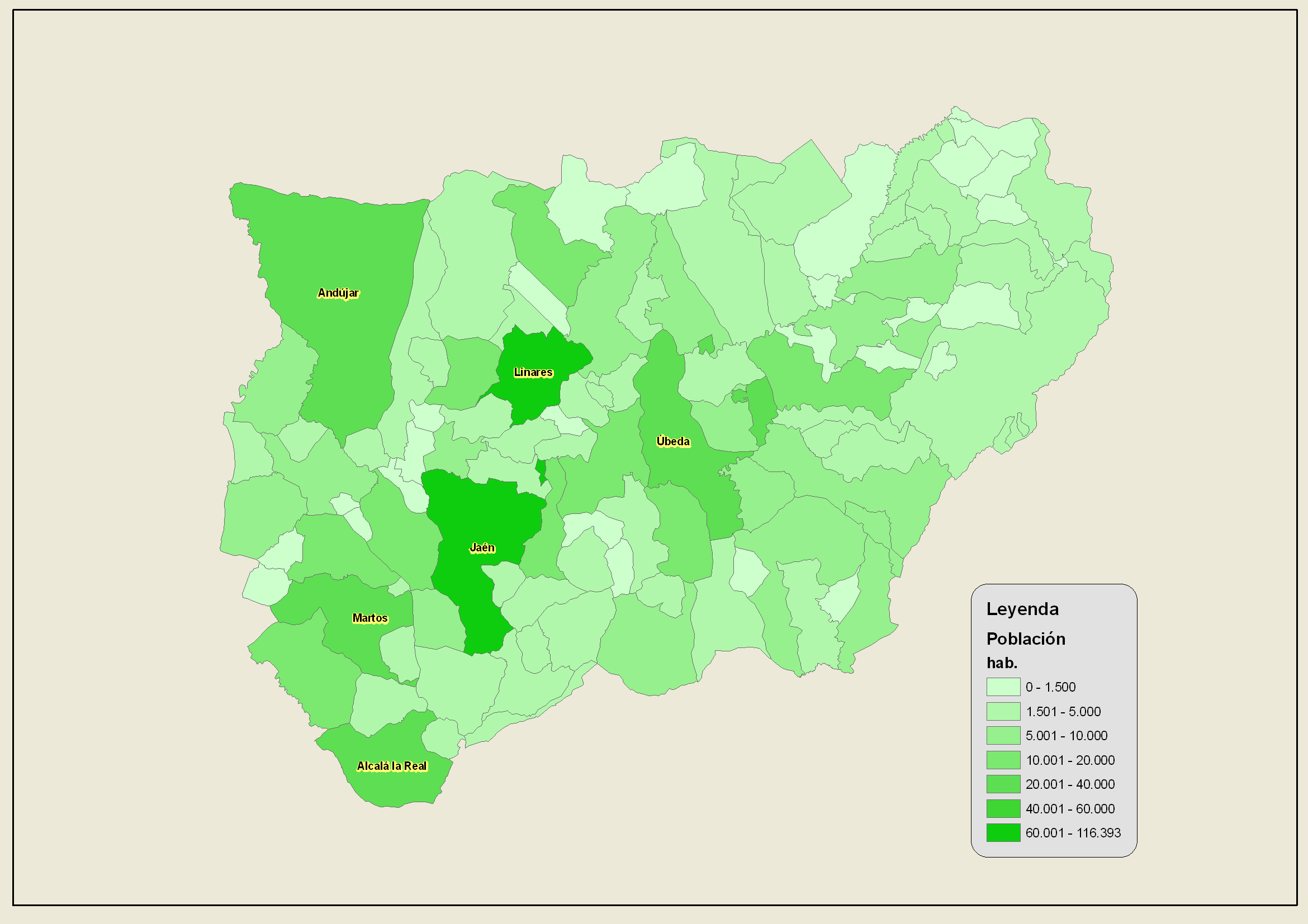 Population of the province of Jaén 2007