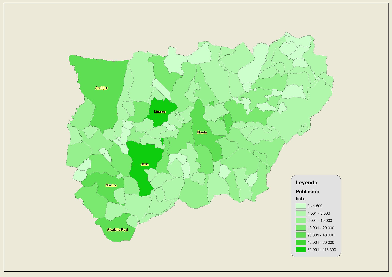 Población de la provincia de Jaén 2007