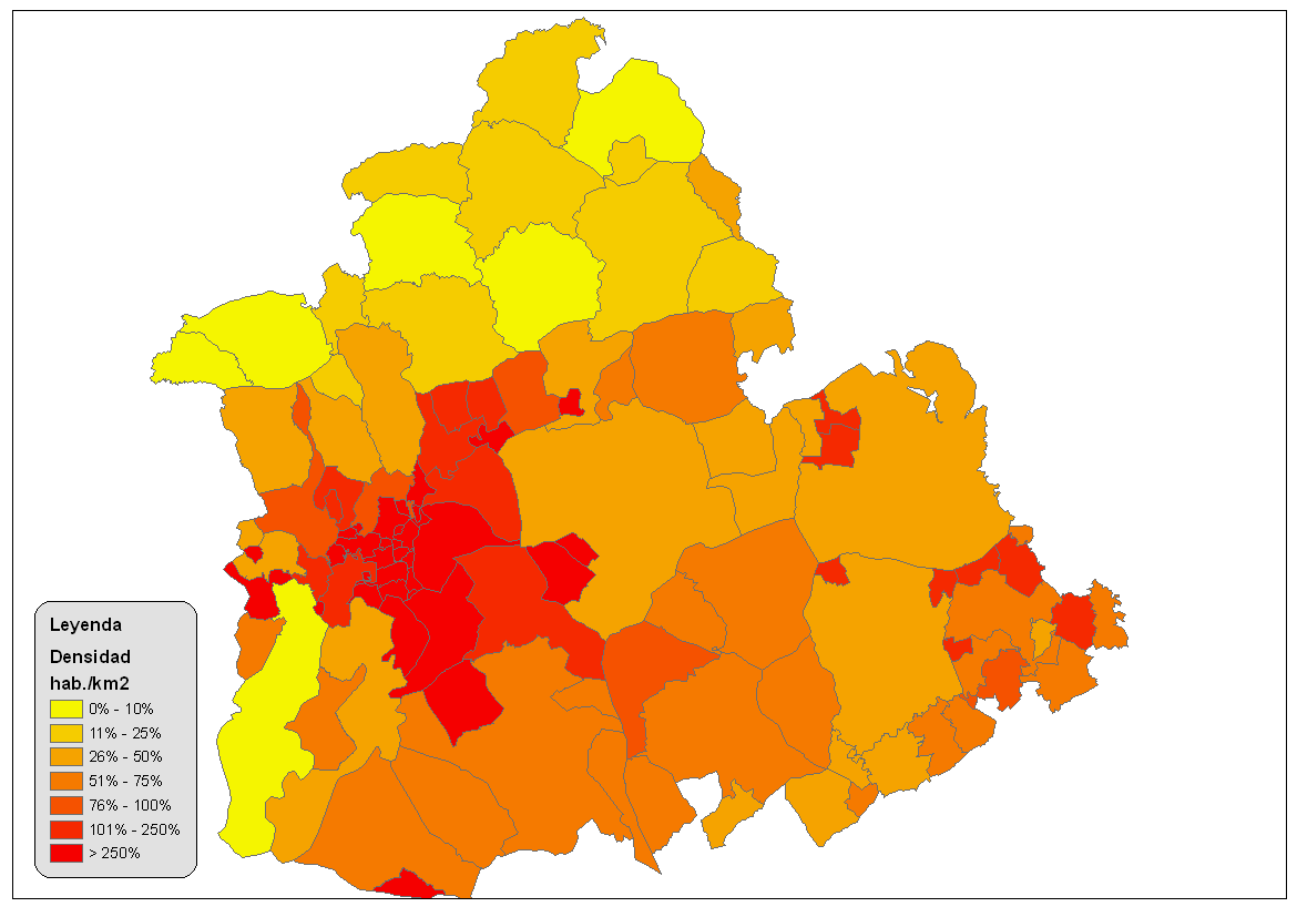 Population density of the province of Seville 2008