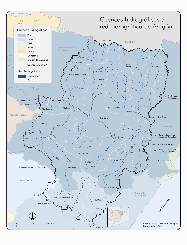 Cuencas hidrográficas y red hidrográfica de Aragón