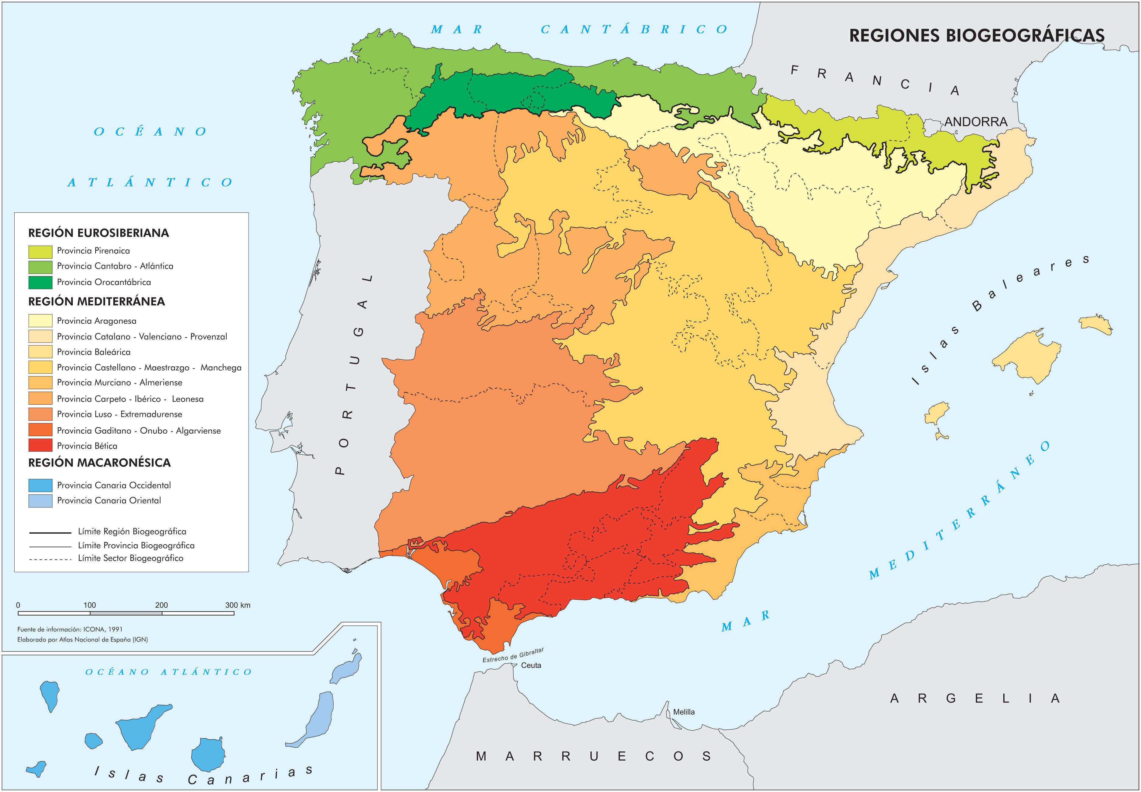 Biogeographic regions of Spain