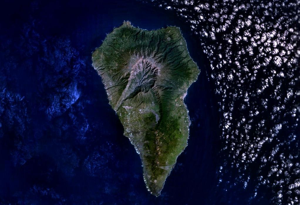 Imagen, Foto Satelite de la Isla de La Palma
