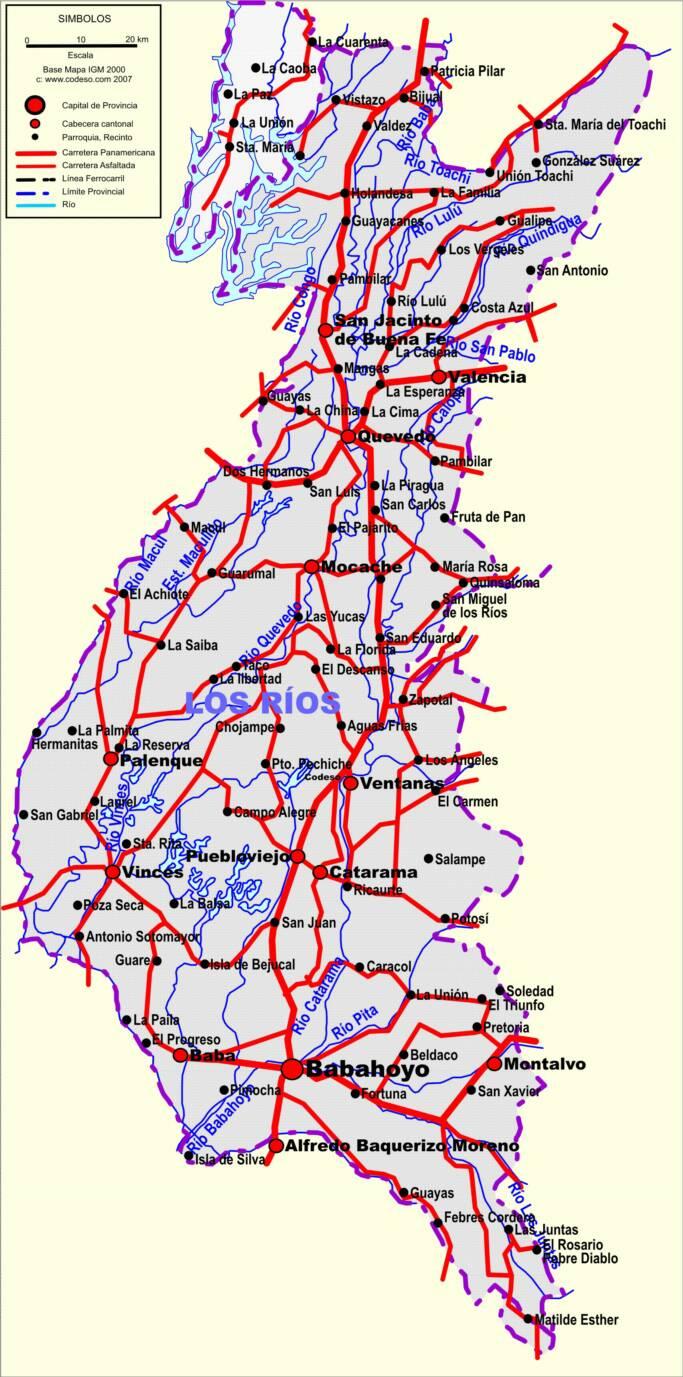 Mapa de carreteras de Los Ríos