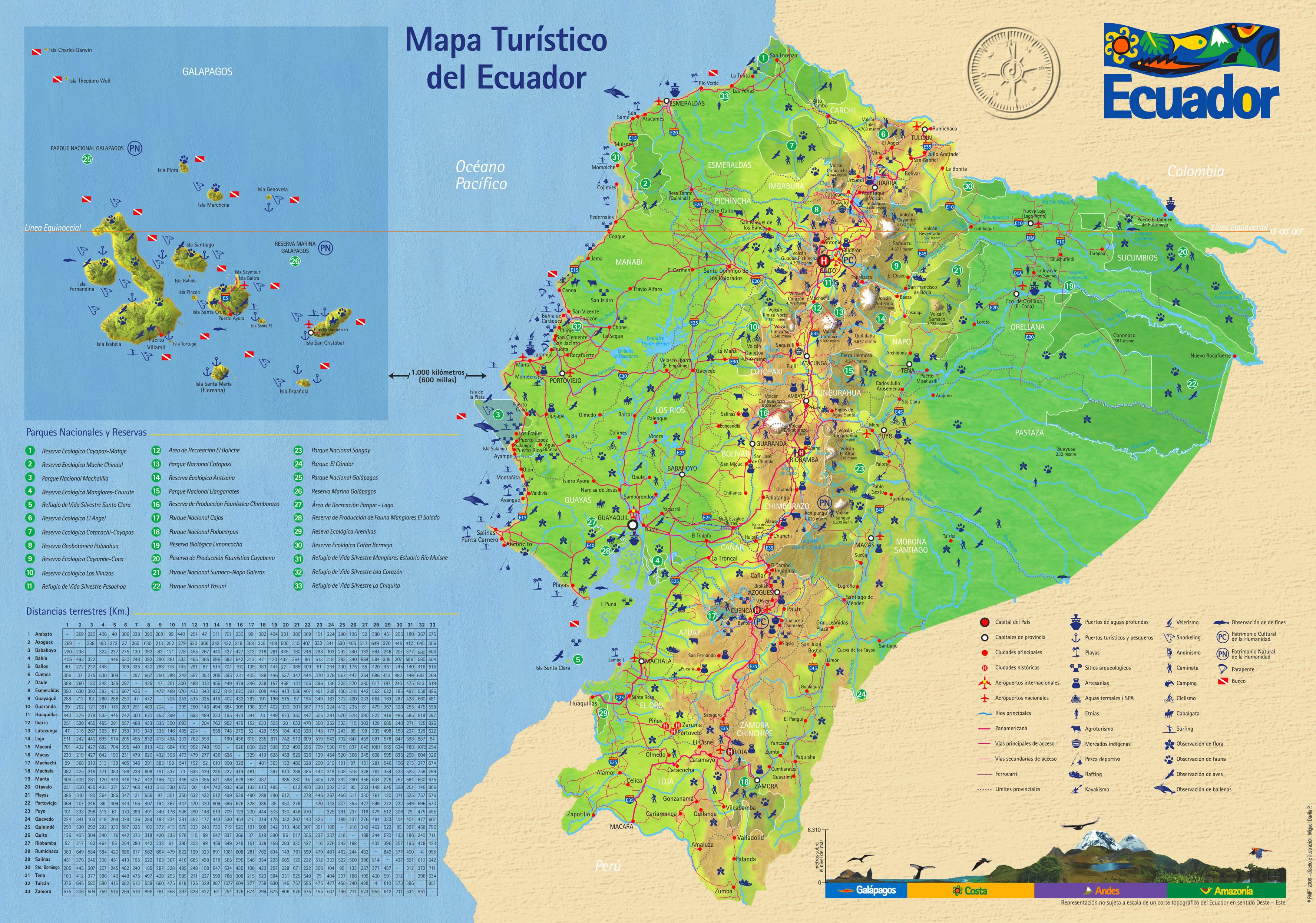 Mapa turístico del Ecuador 2006