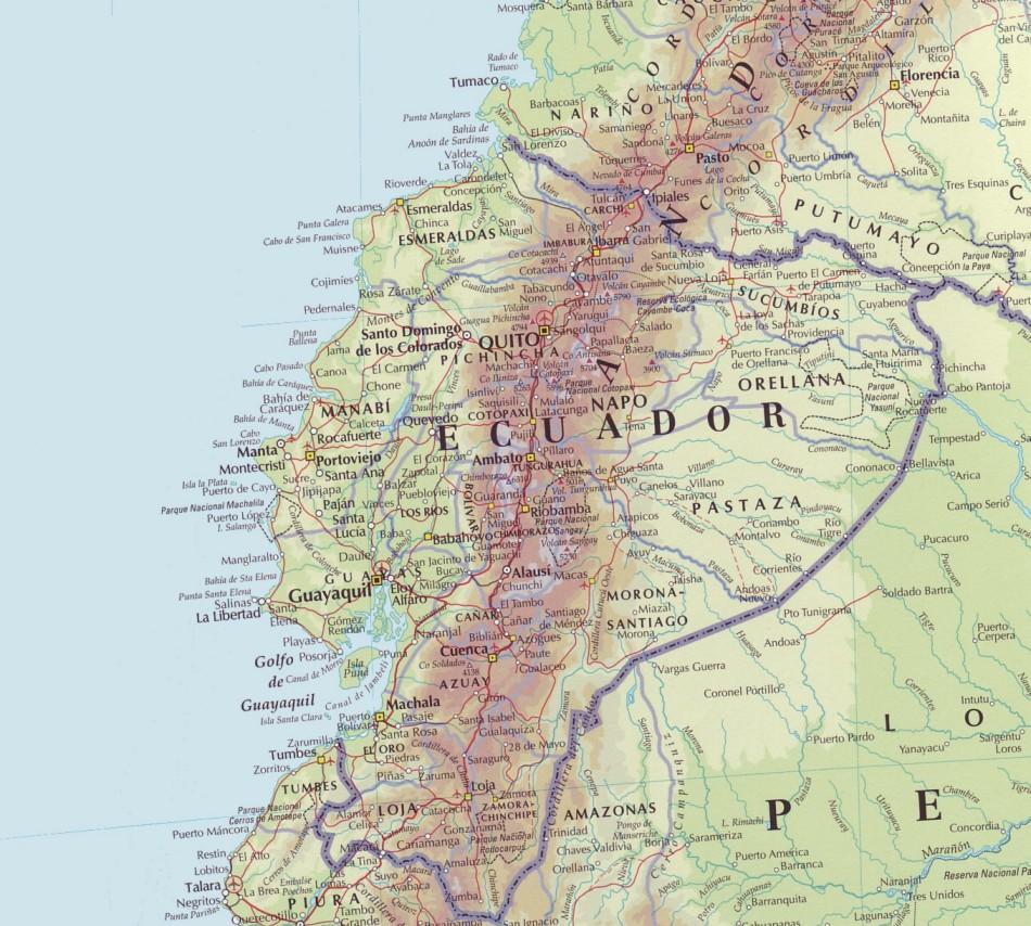 Mapa físico del Ecuador