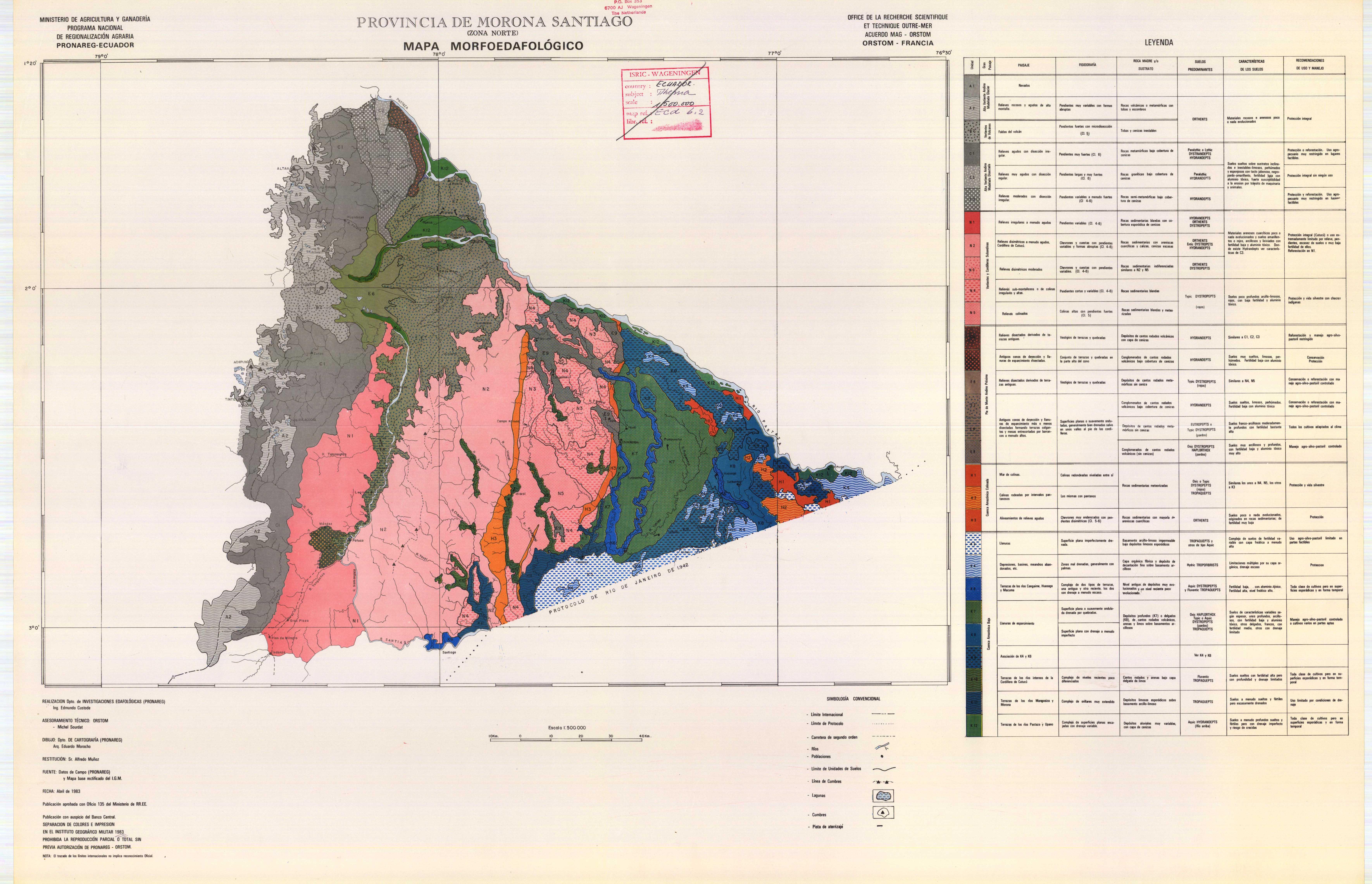 Morpho-edaphological map of Morona Santiago (northern area) 1983