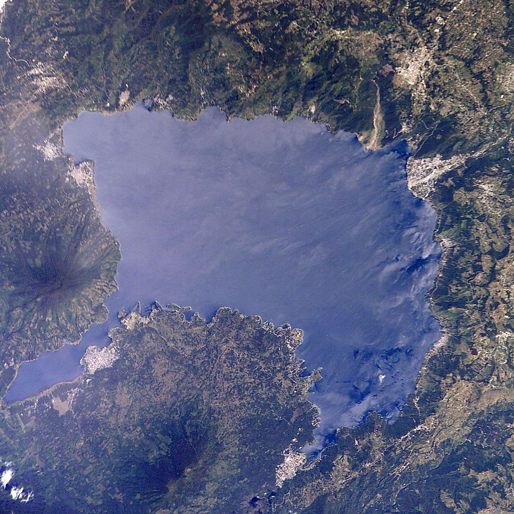 Satellite image of Lago de Atitlán