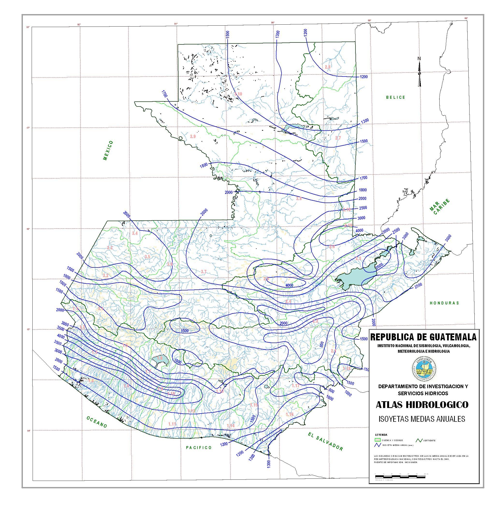 Precipitaciones medias anuales en Guatemala 2003