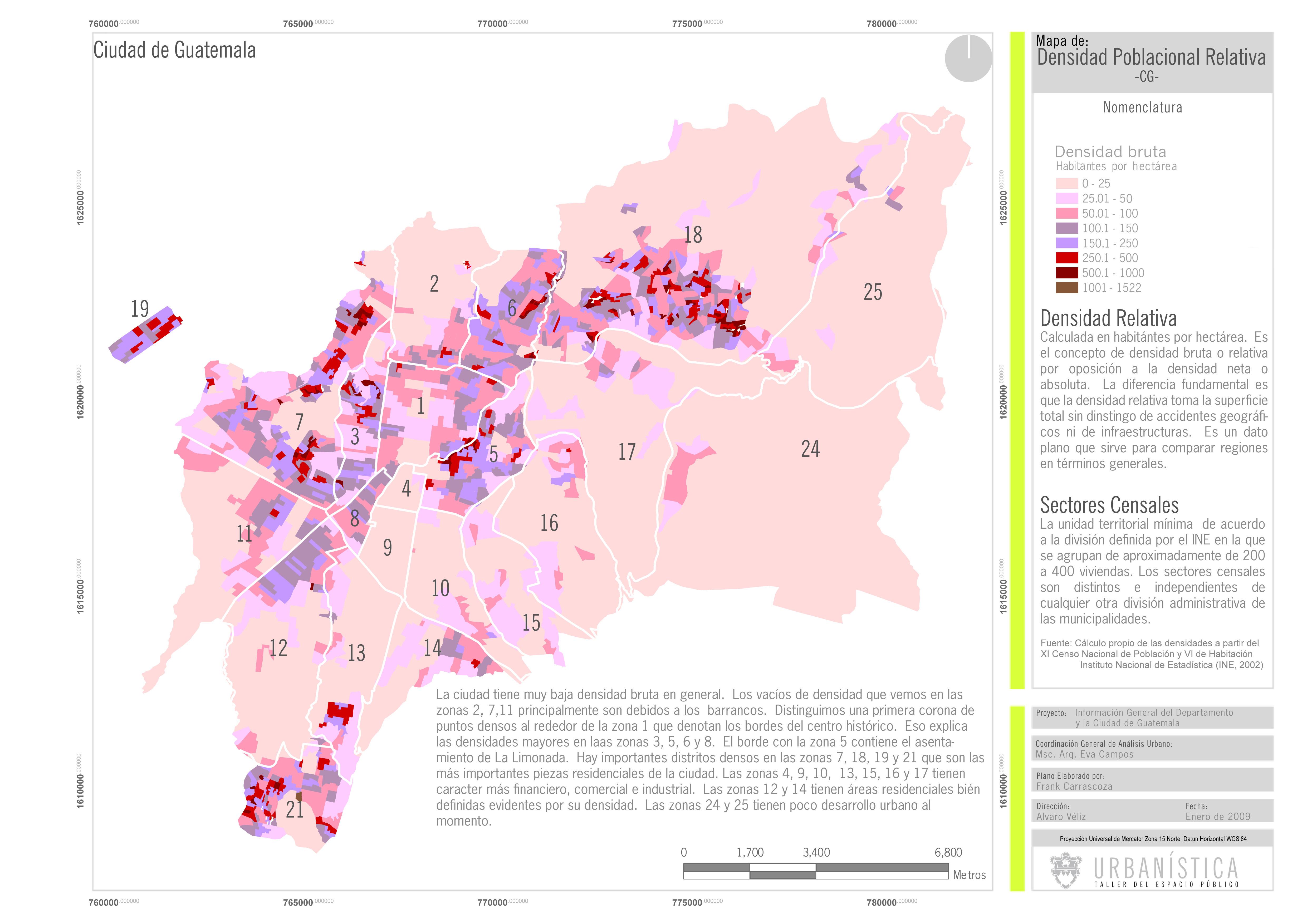 Densidad poblacional de la Ciudad de Guatemala 2009