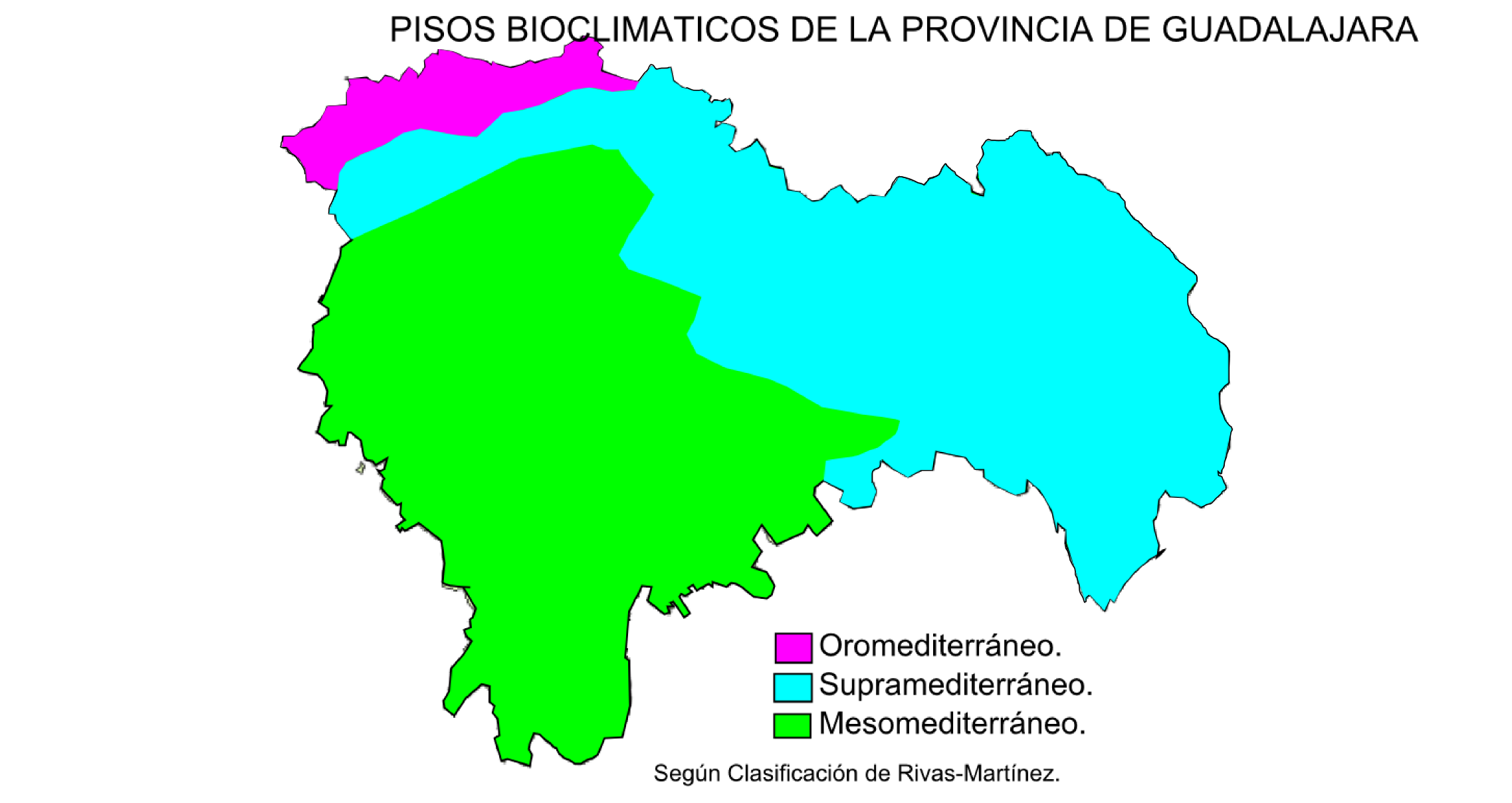 Bioclimatic zones of the province of Guadalajara 2009