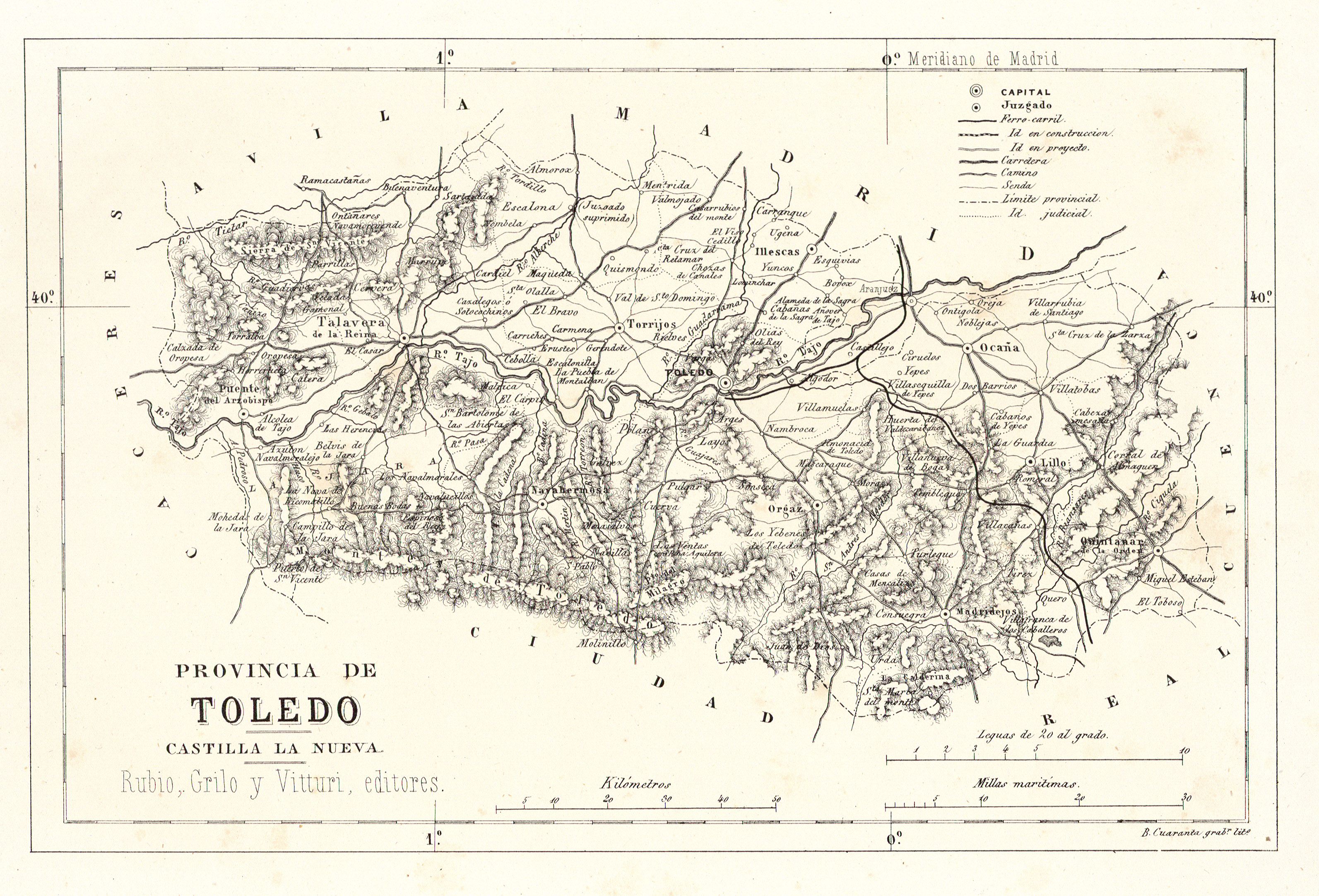 Map of the province of Toledo 1866