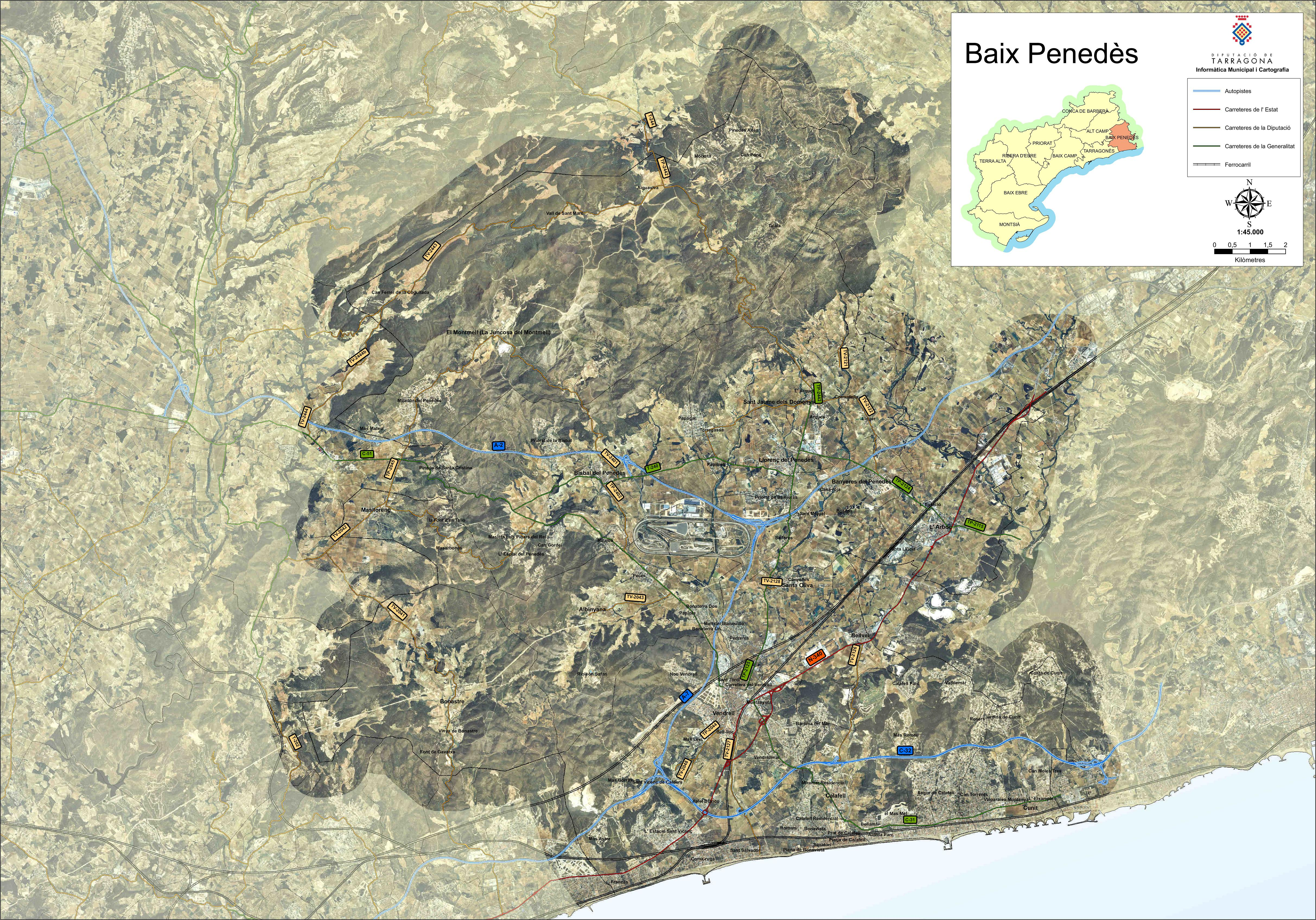 Satellite and road map of the comarca of Baix Penedès