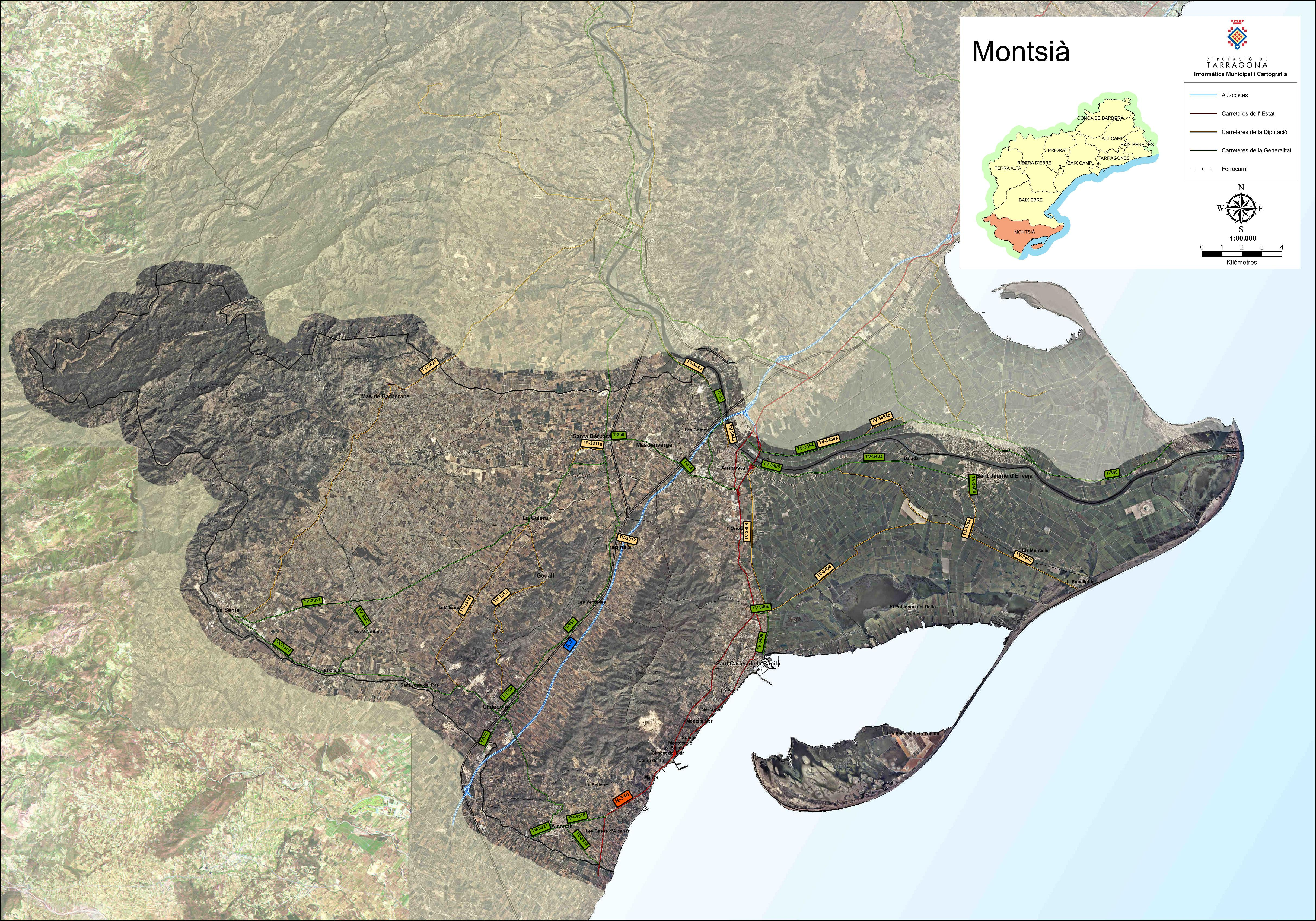 Satellite and road map of the comarca of Montsià