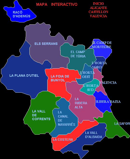Comarcas of the Province of Valencia