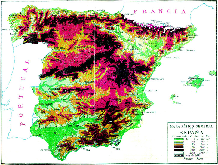 Physical map of Spain