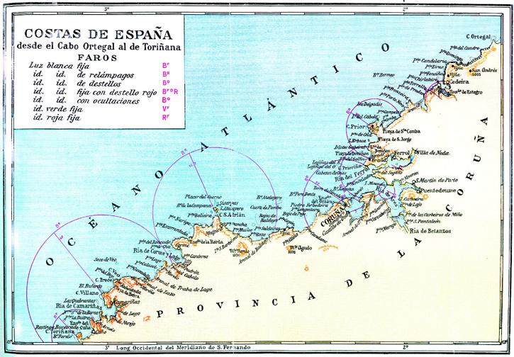 Costa de España desde el Cabo Ortegal al de Touriñana