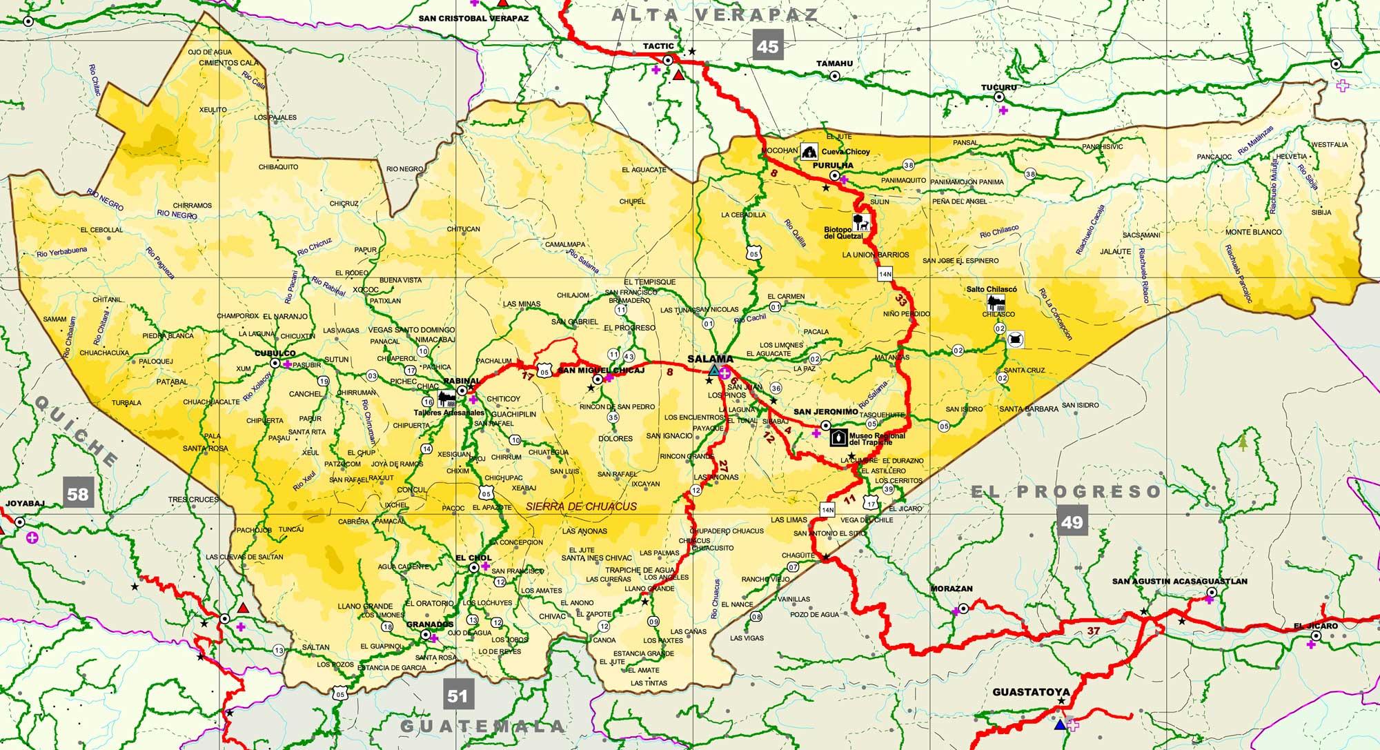 Mapa de Baja Verapaz