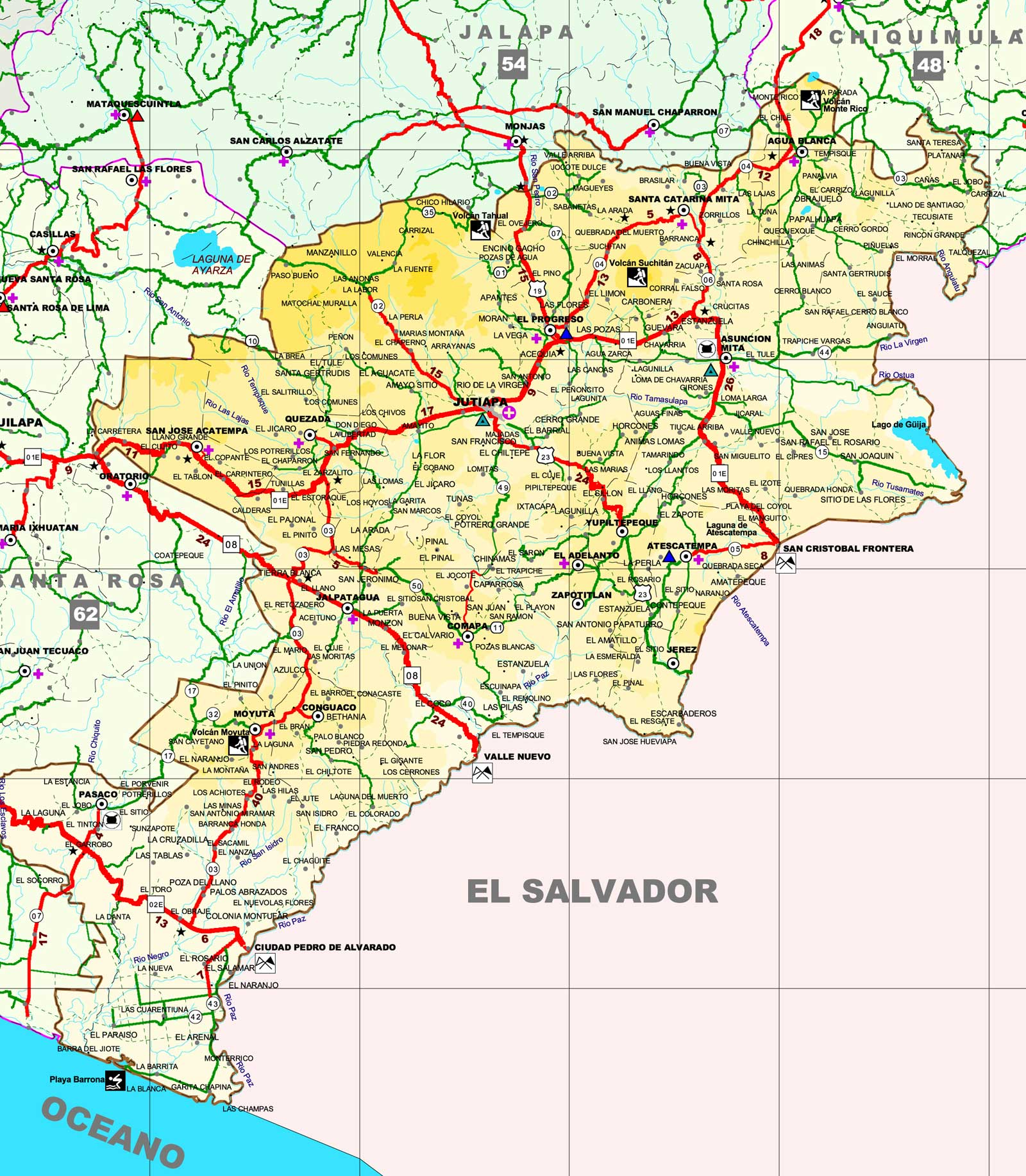 Mapa de Jutiapa
