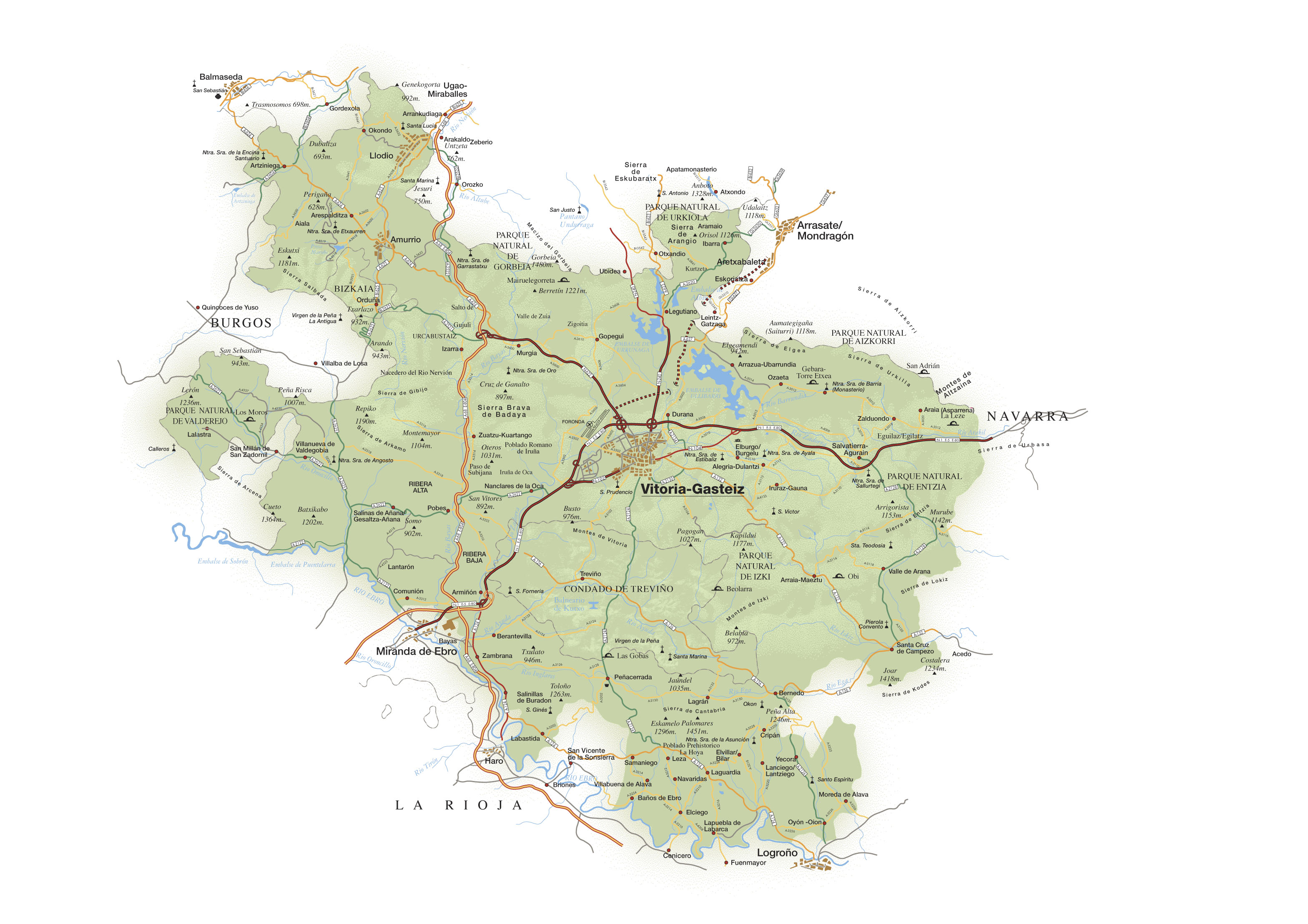 Mapa de carreteras de Álava