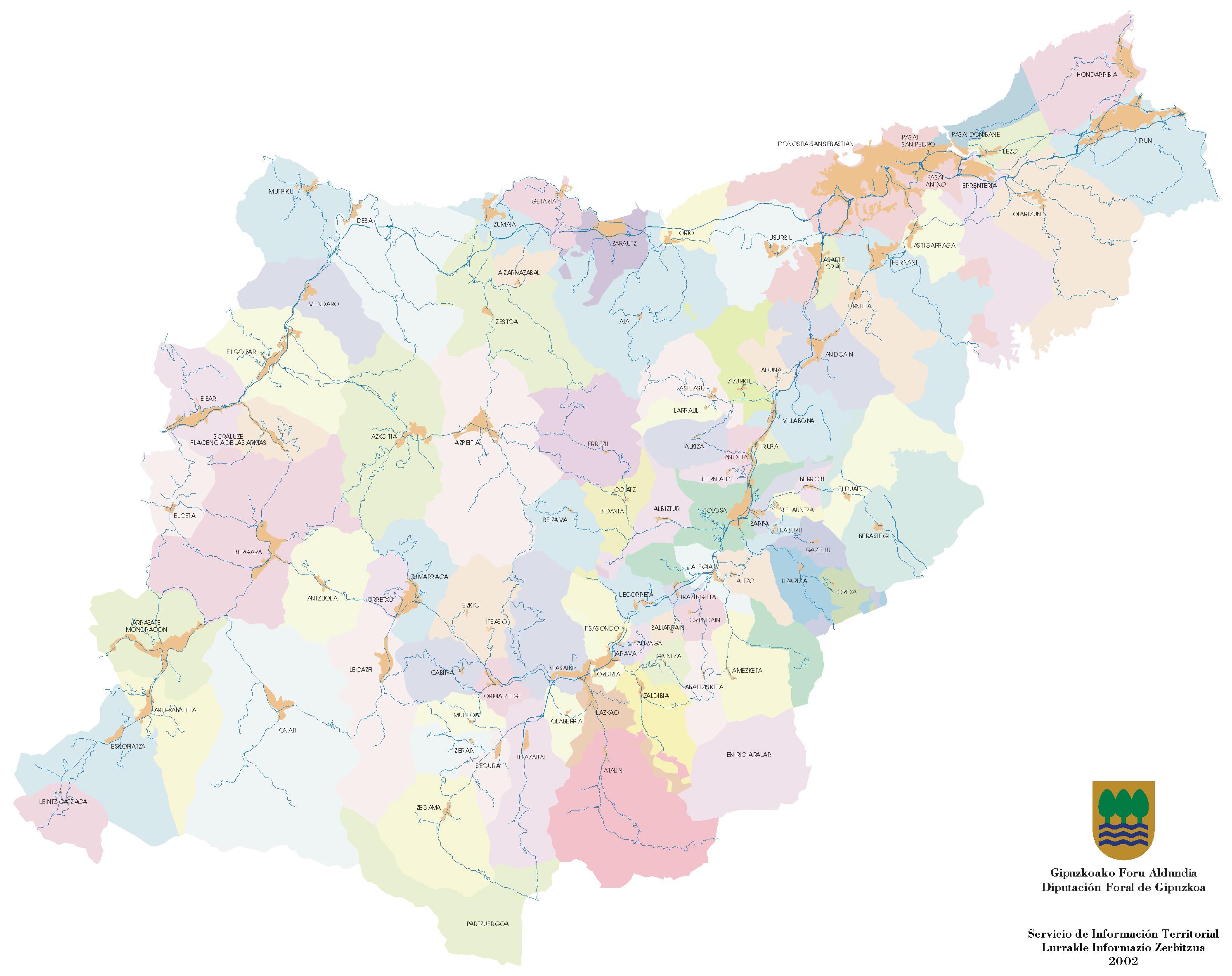 Municipios, Mancomunidades y Cascos urbanos de Guipúzcoa 2002
