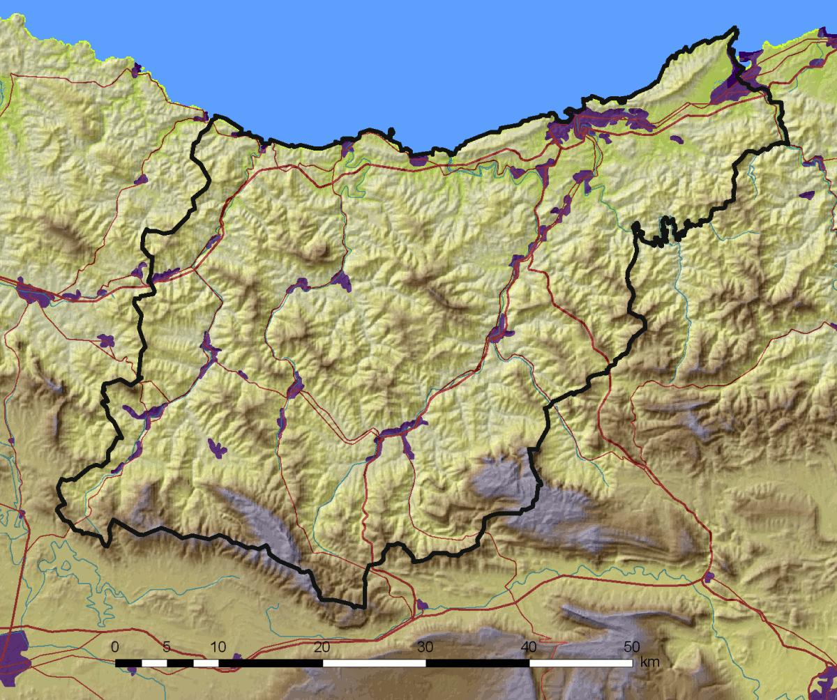 Mapa físico de Guipúzcoa 2008