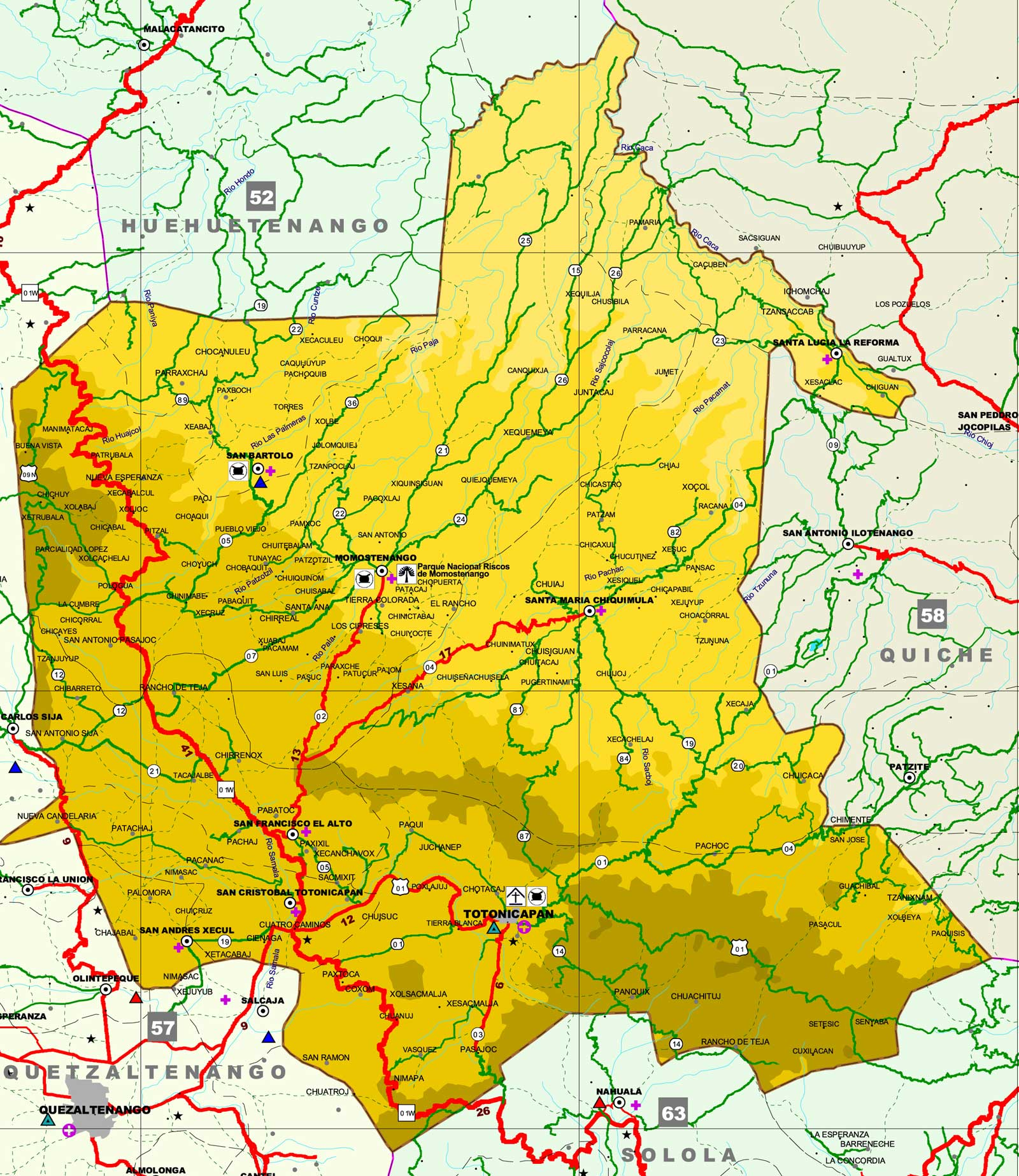 Mapa de Totonicapán