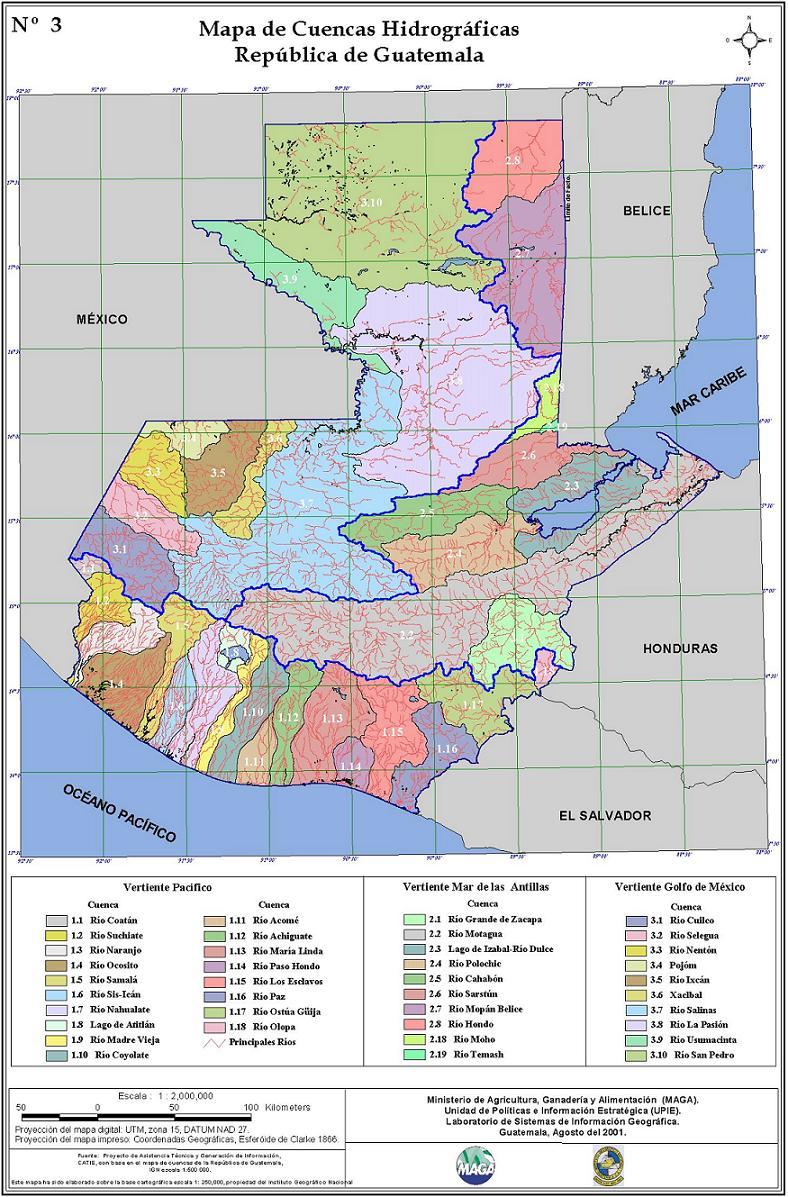 Cuencas hidrográficas de Guatemala 2001