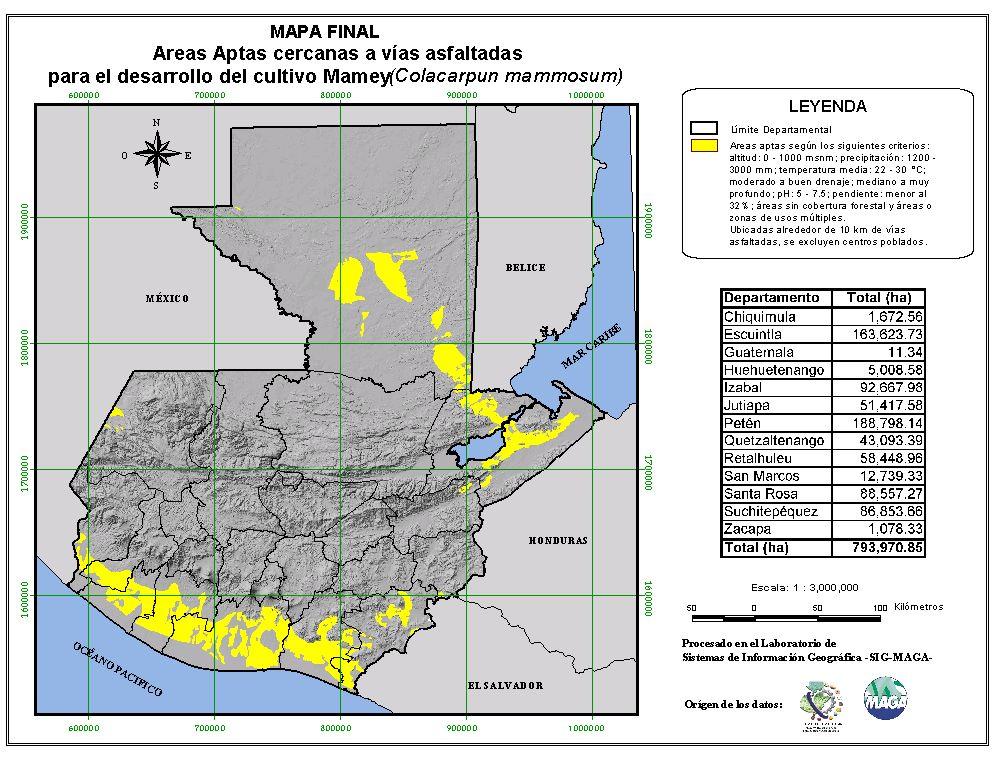 Áreas aptas para el cultivo del Mamey en Guatemala