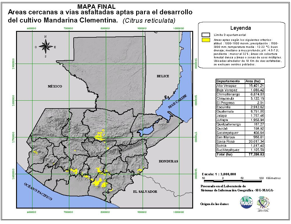 Areas suitable for growing Mandarin Orange in Guatemala