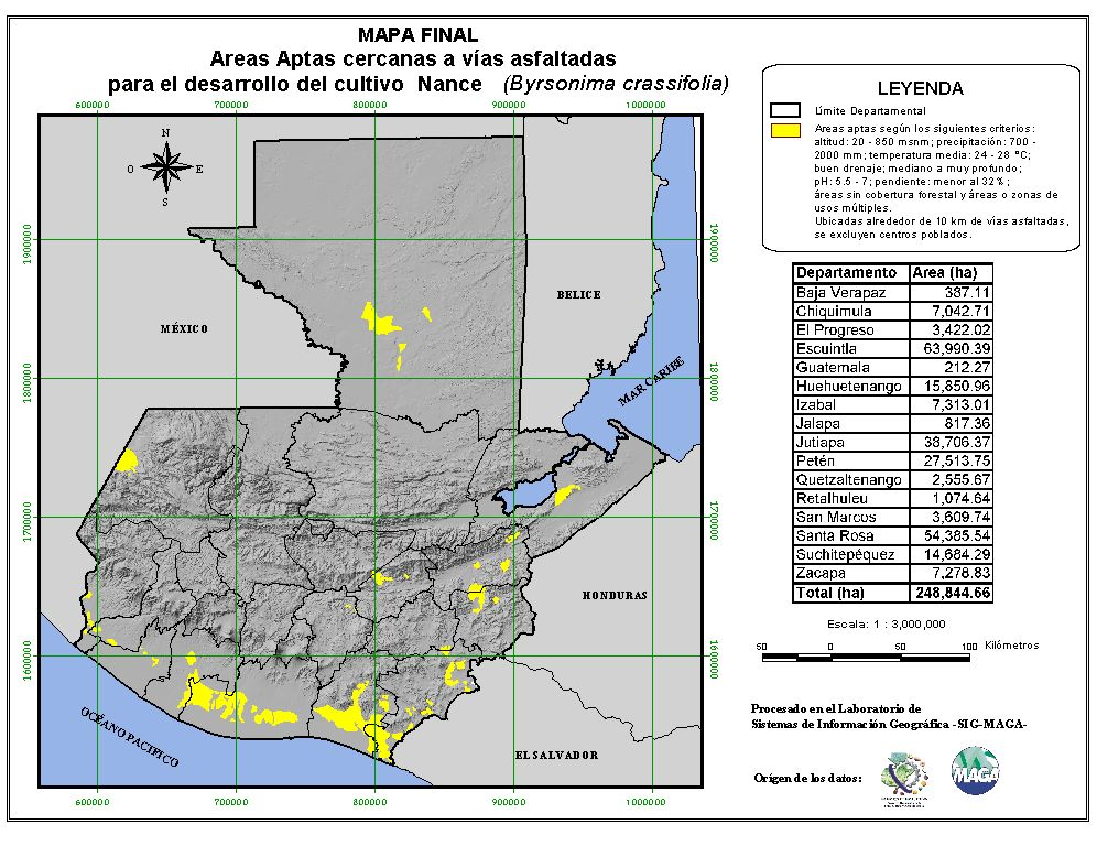 Areas suitable for growing Nance in Guatemala