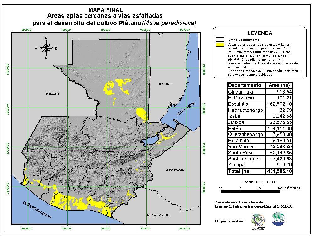 Áreas aptas para el cultivo de la Plátano en Guatemala