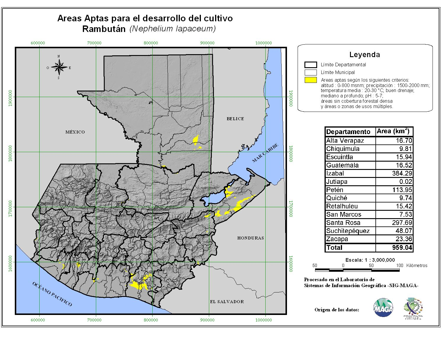 Areas suitable for growing Rambutan in Guatemala