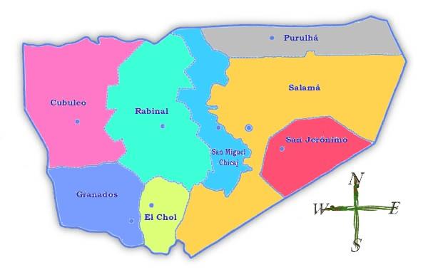 Mapa político de Baja Verapaz