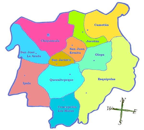 Political map of Chiquimula