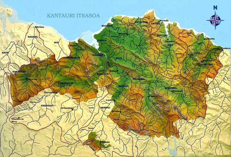 Physical map of Biscay with its rivers