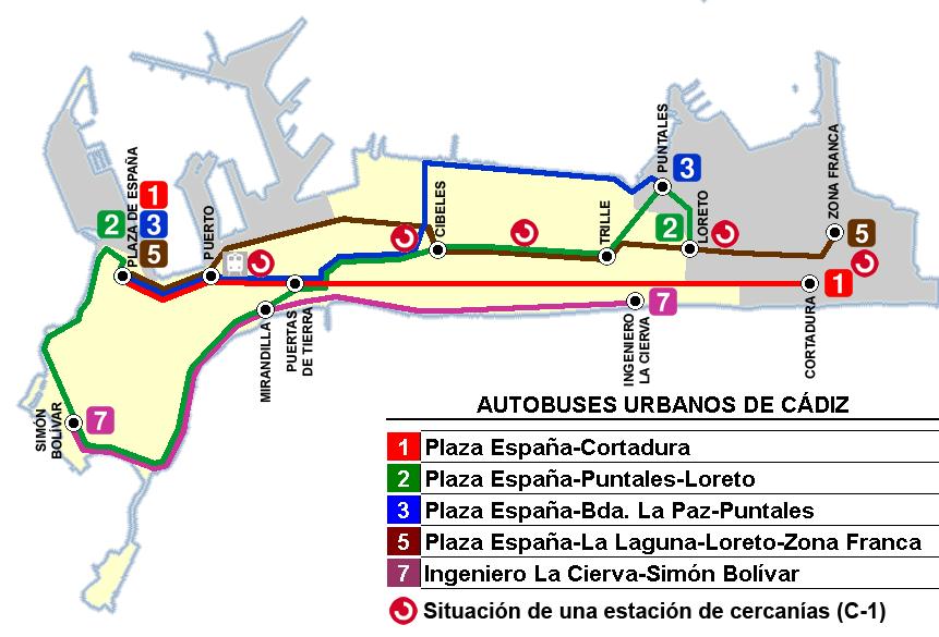 Líneas de autobús urbano de Cádiz 2009