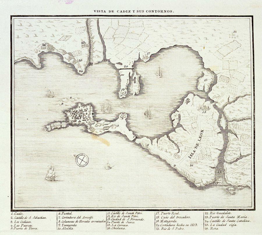 Mapa de la Bahía de Cádiz 1813