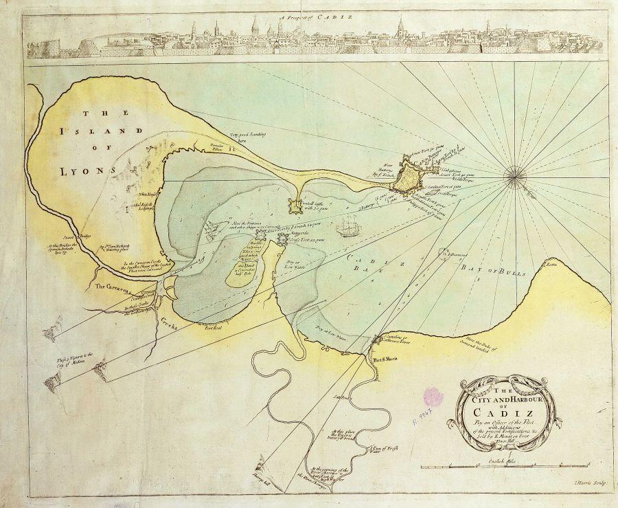 La ciudad y el puerto de Cádiz 1695